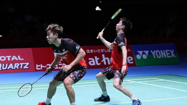 All Indonesian final terjadi di sektor ganda putra Japan Open 2019. Kevin Sanjaya Sukamuljo/Marcus Fernaldi Gideon bertemu Mohammad Ahsan/Hendra Setiawan. (dok.PBSI)