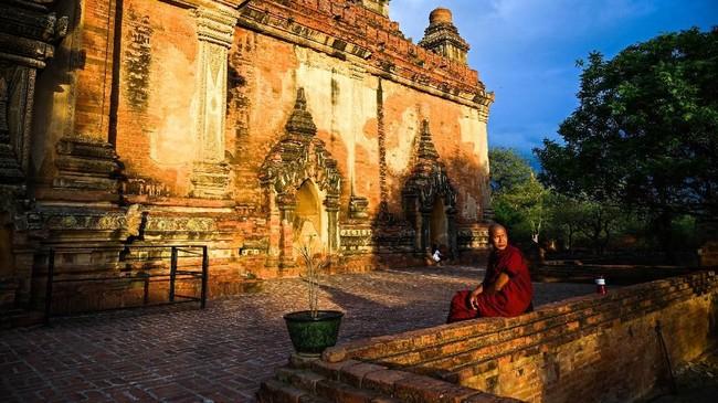 Pagoda Sulamani di komplek kuno Bagan, Mandalay, Myanmar. (AFP Photo/Ye Aung Thu)