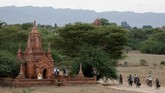 Bagan dibangun di atas daratan yang sering mengalami gempa bumi. Bencana terbesar terjadi pada 9 Juli 2975 yang merusak ribuan kuil. (AFP Photo/Ye Aung Thu)