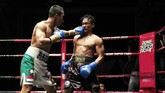 Daud Yordan melepaskan pukulan ke arahAekkawee Kaewmanee sebelum mengakhiri perlawanan sang lawan lewat kemenangan TKO. (Dok Mahkota Promotion)