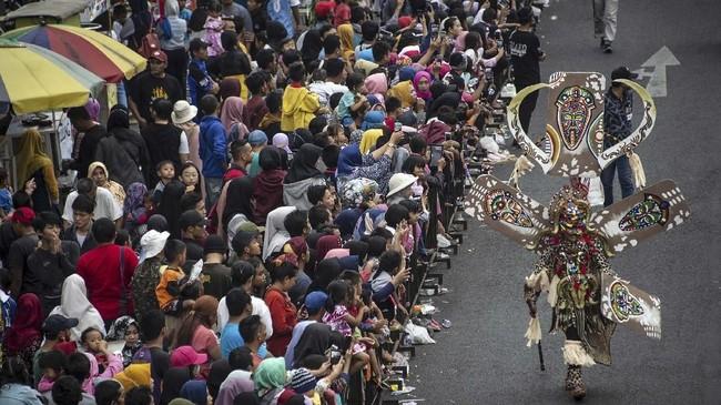 Pembukaan JFC 2019 dilangsungkan di halaman Kantor Pemerintah Kabupaten Jember, Jawa Timur.(JUNI KRISWANTO / AFP)