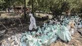 Tiga desa di Kecamatan Muaragembong terdampak kebocoran minyak mentah Pertamina yaitu Desa Pantai Bahagia, Pantai Bakti dan Pantai Sederhana. (ANTARA FOTO/Fakhri Hermansyah/wsj)