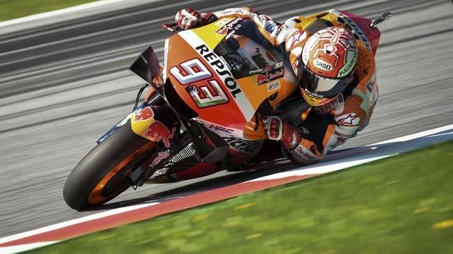 Marc Marquez merebut pole MotoGP Austria 2019 dengan catatan waktu 1 menit 23,027 detik. (VLADIMIR SIMICEK / AFP)