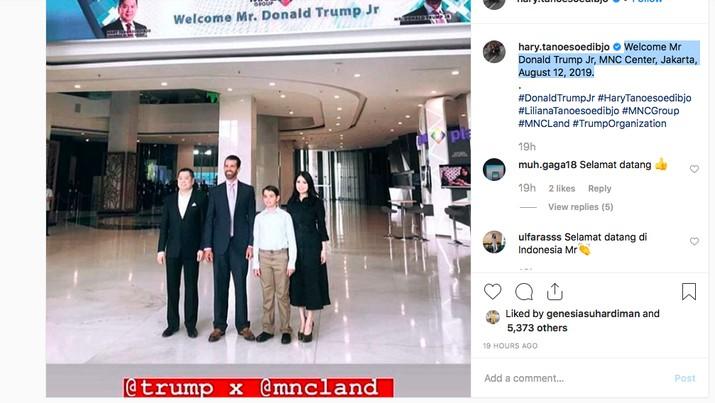 Bos Grup MNC Hary Tanoesoedibjo kedatangan Donald Trump Jr, putra sulung dari Presiden Amerika Serikat.