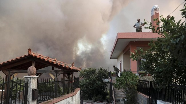 Kobaran api kebakaran hutan bisa terlihat jelas dari Ibukota Athena ketika malam. (AP Photo/Yorgos Karahalis)