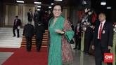 Menteri Keuangan Sri Mulyani memakai kebaya hijau brokat saat menghadiri Sidang Tahunan MPR, di Kompleks Parlemen, Senayan, Jakarta, Jumat, 16 Agustus 2019. (CNN Indonesia/Adhi Wicaksono)