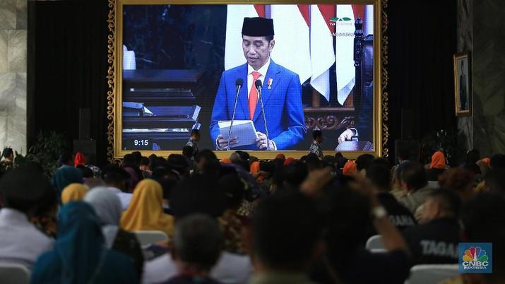 Presiden Jokowi menyampaikan pidato kenegaraan di sidang tahunan MPR Tahun 2019.