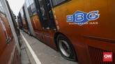 Selain di Terminal Pulogadung, Jakarta Timur, Ratusan bus Transjakarta lainnya juga ditempatkan di sebuah lahan kosong di daerah Dramaga, Kabupaten Bogor, Jawa Barat. CNN Indonesia/Bisma Septalisma