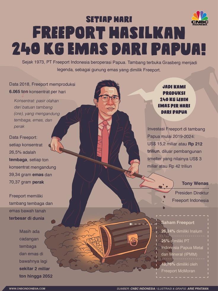 Bos Freeport sebut setiap hari perusahaan menggali sebanyak 240 kilogram emas dari bumi Papua