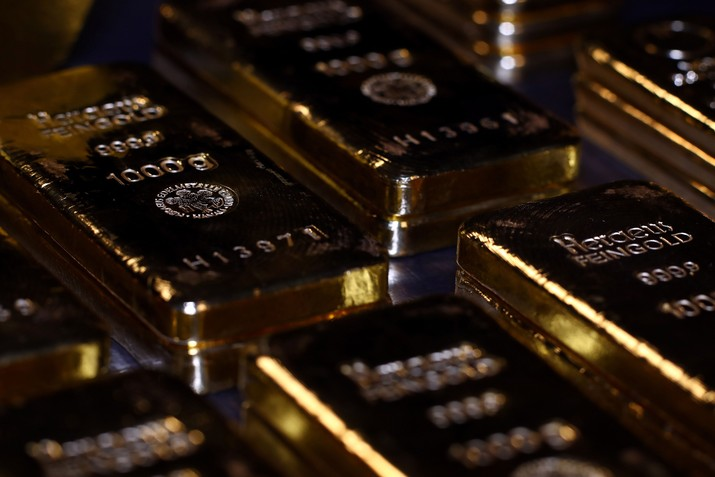 Gold bars are stacked in the safe deposit boxes room of the Pro Aurum gold house in Munich, Germany,  August 14, 2019. REUTERS/Michael Dalder