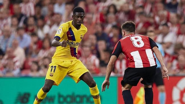 Ousmane Dembele jadi pemain yang paling mungkin jadi alat barter untuk kedatangan Neymar jelang bursa transfer ditutup. (AP Photo/Ion Alcoba Beitia)
