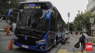 FOTO: Uji Coba Bus Listrik di Jakarta
