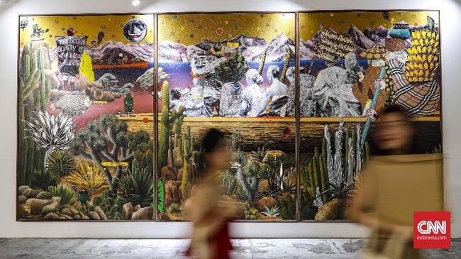 Art Jakarta 2019 ini dilengkapi juga ajang diskusi seni rupa terkini bagi kalangan seniman maupun umum. (CNN Indonesia/Safir Makki)