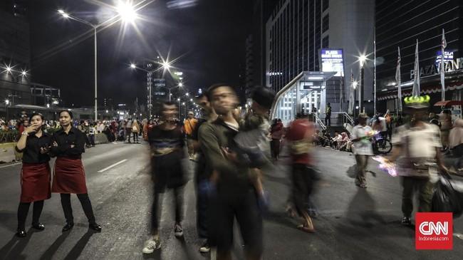 Lebih dari3.000 aparat gabungan dari personel Polisi dan Satpol PP akan diterjunkan untuk mengamankan seluruh rangkaian kegiatan Jakarta Muharram Festival. (CNN Indonesia/Bisma Septalisma)