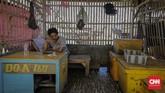 Hari (38) Salah satu pengepul ikan di TPI Sungai Buntu, mengaku mengalami penurunan omset karena tangkapan ikan oleh nelayan berkurang drastis akibat tumpahan minyak di laut Karawang. (CNN Indonesia/Adhi Wicaksono)