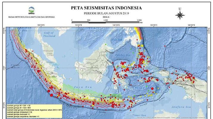 Peta Seismisitas Indonesia Perioden Bulan Agustus 2019 (twitter @infoBMKG)