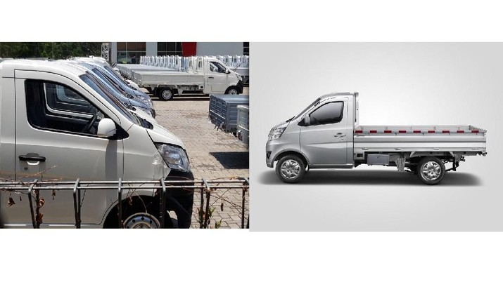 Mobil Esemka Bima dan Changan Star Truck (Foto: detikcom/Ragil Ajiyanto dan Dok. Changan)