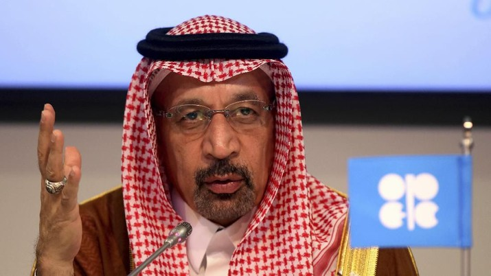 FILE - In this June 23, 2018 file photo, Saudi Energy Minister Khalid al-Falih attends a news conference in Vienna, Austria. On Sunday, Sept. 8, 2019, King Salman replaced the country's energy minister, al-Falih, with one of his own sons, naming Prince Abdulaziz bin Salman to one of the most important positions in the kingdom. (AP Photo/Ronald Zak, File)