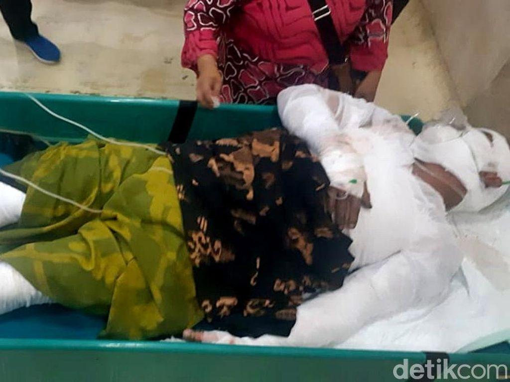 Sunjoko mengalami luka bakar di sekujur tubuh dan kini tengah dirawat di rumah sakit. Selain menyebabkan korban luka parah, ledakan keras yang terjadi sekali itu menyebabkan kerugian material hingga Rp 50 juta.