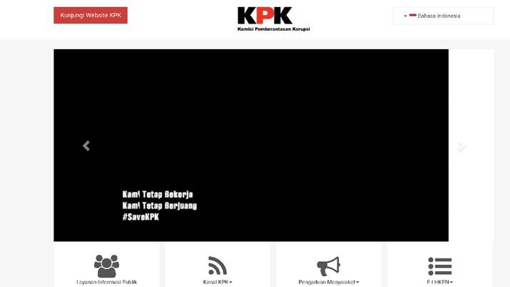 Tampilan muka situs Komisi Pemberantasan Korupsi (KPK), KPK.go.id mendadak hitam sejak pagi (13/9/2019) ini.