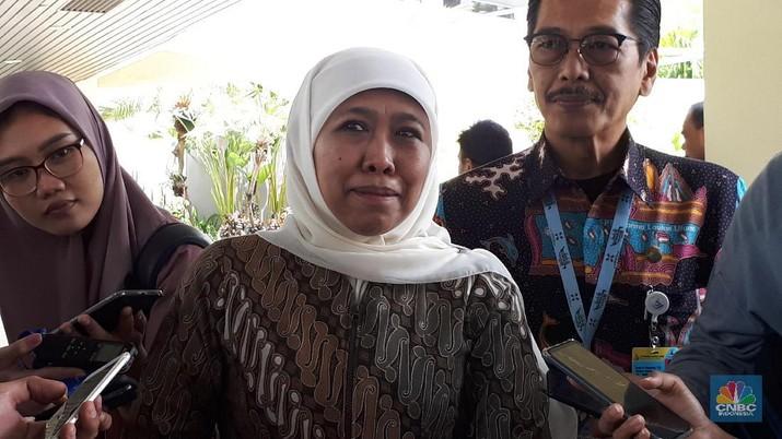 Gubernur Jawa Timur Khofifah Indar Parawansa di JCC, Senayan, Jakarta