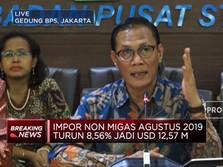 Neraca Dagang Agustus 2019 Surplus USD 85,1 Juta