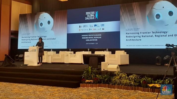 Menteri Keuangan Sri Mulyani Indrawati menjadi salah satu pembicara dalam 2019 CSIS Global Dialogue.