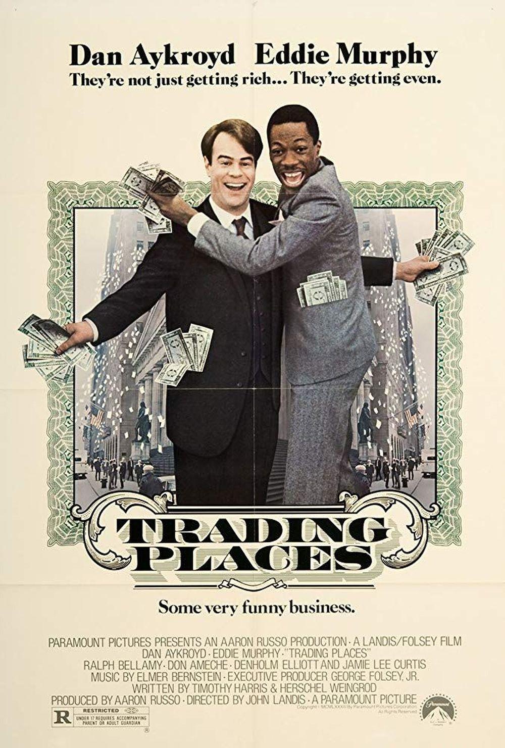 Trading Places (1983) adalah sebuah komedi yang menggambarkan gelandangan Billy Ray (Eddie Murphy)di posisiorang kaya Louis (Dan Aykroyd) yang bekerjasebagaimakelar komoditas dan sebaliknya. Hal itu terjadi ketika pemilik perusahaan bertaruh untuk melihat apa yang akan terjadi jika keduanya bertukar nasib. (ist via IMDB)
