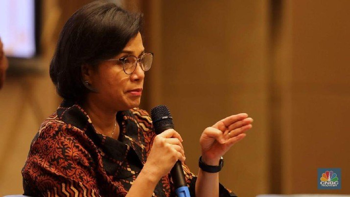 Menteri Keuangan Sri Mulyani di acara Rapat Koordinasi Nasional Kamar Dagang dan Industri Indonesia (Kadin) Bidang Properti 2019. (CNBC Indonesia/Muhammad Sabki)