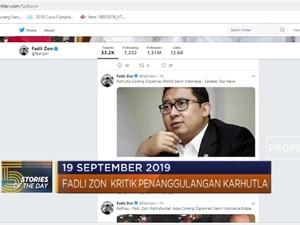 Fadli Zon Kritik Penanggulangan Karhutla