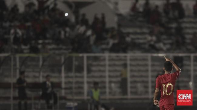 Marselino Ferdinan mencetak gol pertama Timnas Indonesia U-16 ke gawang Kepulauan Mariana Utara pada menit kesembilan. (CNN Indonesia/Bisma Septalisma)