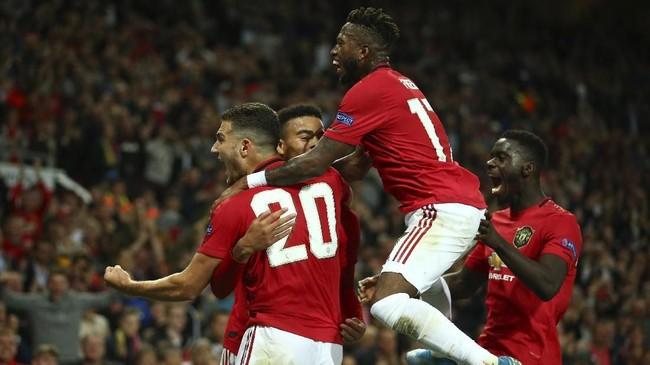 Manchester United mempertahankan keunggulan 1-0 atas Astana. Meski menang tipis, MU tetap memuncaki klasemen Grup L. (AP Photo/Dave Thompson)