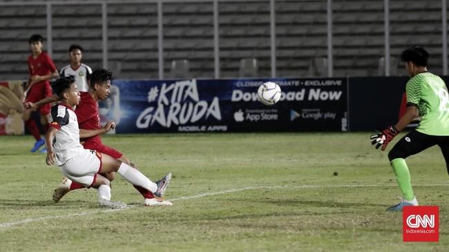Selanjutnya, Indonesia U-16 akan menghadapi China di laga pamungkas untuk menentukan siapa yang berhak menjadi juara Grup G Kualifikasi Piala Asia 2020. (CNNIndonesia/Safir Makki)