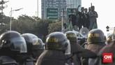 Aksimassa HMI itu digelar menyikapi penembakan mahasiswa di Kendari, Sulawesi Tenggara.(CNN Indonesia/Bisma Septalisma)