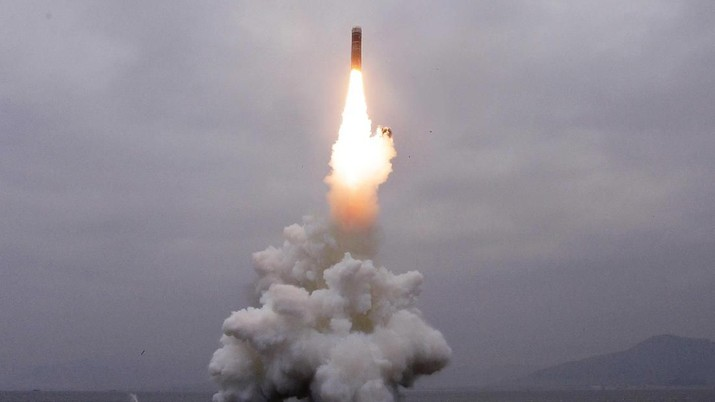 What appears to be a submarine-launched ballistic missile (SLBM) flies in an undisclosed location in this undated picture released by North Korea's Central News Agency (KCNA) on October 2, 2019.   KCNA via REUTERS    ATTENTION EDITORS - THIS IMAGE WAS PROVIDED BY A THIRD PARTY. REUTERS IS UNABLE TO INDEPENDENTLY VERIFY THIS IMAGE. NO THIRD PARTY SALES. SOUTH KOREA OUT.