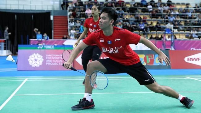 Daniel Marthin/Indah Cahya Sari Jamil turun di partai pertama menghadapi Feng Yanzhe/Ling Fangling pada nomor ganda campuran final Piala Suhandinata. (dok. PBSI)