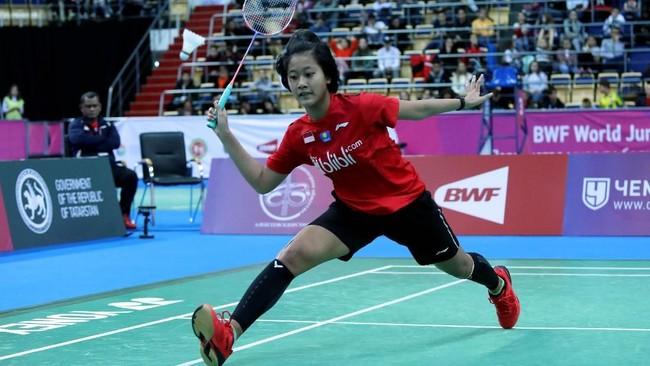 Putri Kusuma Wardani turun di partai kedua menghadapi Zhou Meng di nomor tunggal putri. (dok. PBSI)