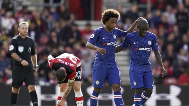 Chelsea meraih kemenangan telak 4-1 atas Southampton. Racikan Frank Lampard mulai berbuah manis.(John Walton/PA via AP)