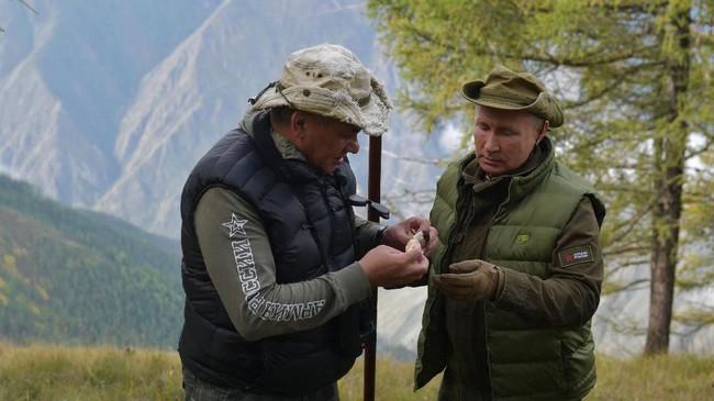 Kawasan hutan Taiga, di wilayah Tuva, Siberia yang dijelajahi Putin berbatasan dengan Mongolia. Dia berulang tahun ke-67 pada Senin (7/10) kemarin. (Photo by Alexey DRUZHININ / Sputnik / AFP)
