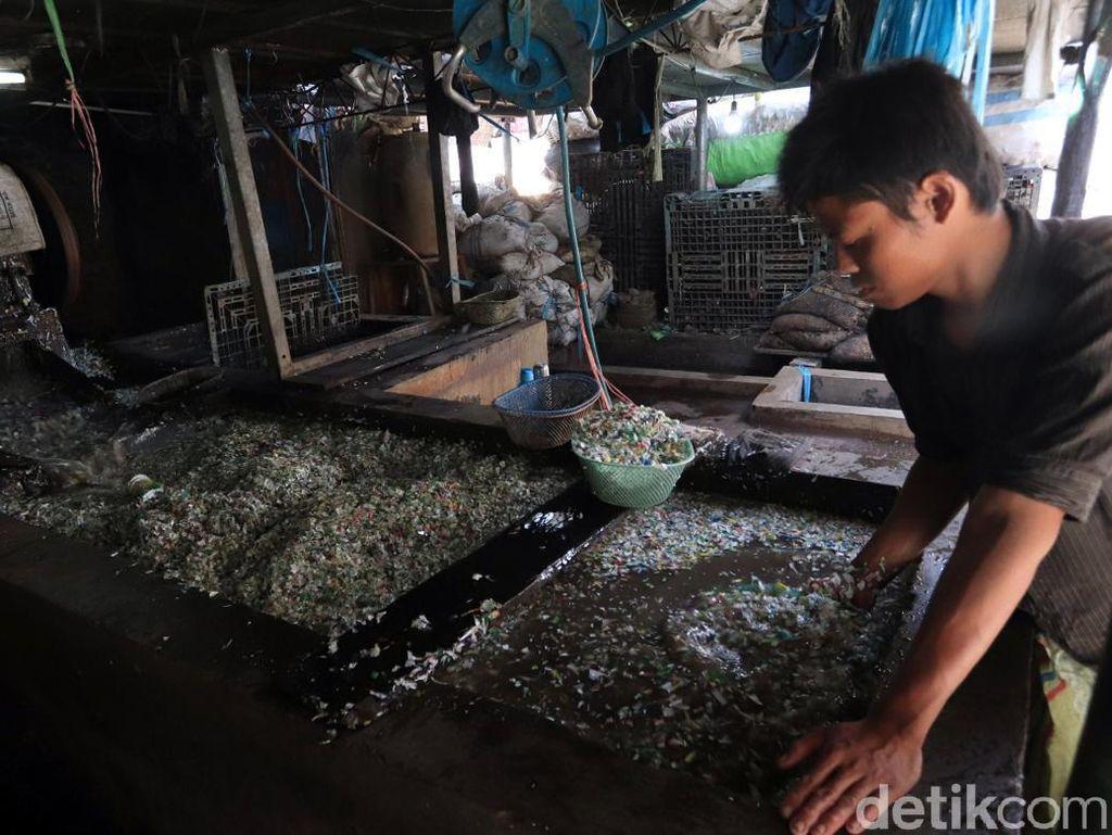 Dalam satu hari, para pekerja di pabrik ini mampu meproduksi 2 hingga 3 ton cacahan plastik.