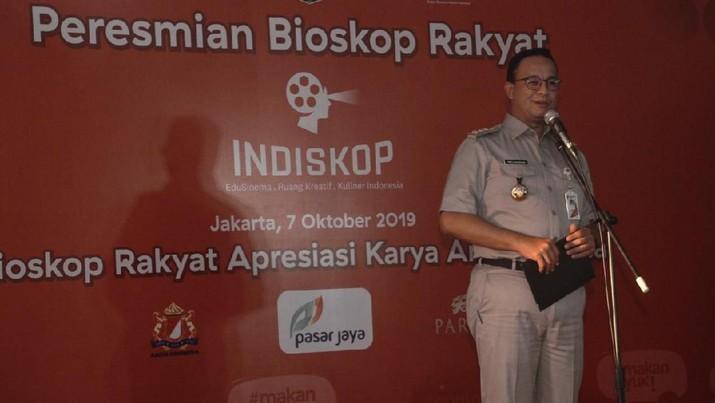 Gubernur DKI Jakarta Anies Baswedan meresmikan beroperasinya bioskop rakyat bernama 'Indiskop'.