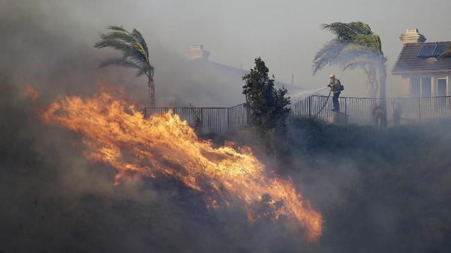 Api dengan cepat merembet melalui semak kering dan melalap belasan rumah penduduk. (AP Photo/Marcio Jose Sanchez)