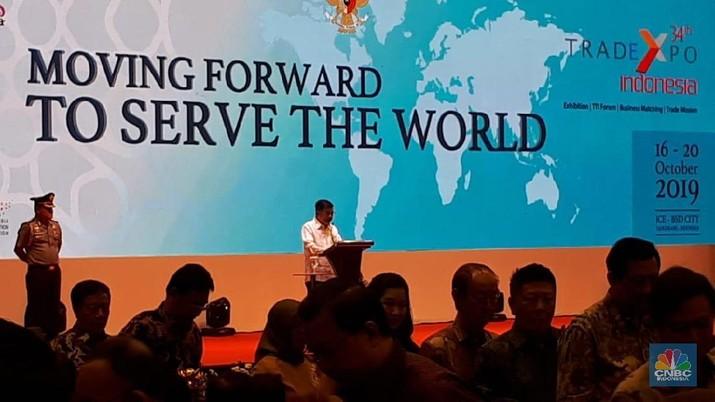 JK menyampaikan pesan-pesan perpisahan saat membuka Trade Expo Indonesia.