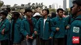 Mahasiswa ingin berdiskusi dengan orang nomor satu di Indonesia secara terbuka untuk memberikan evaluasi terhadap kinerja presiden dan NawaCita selama periode 2014-2019. (CNN Indonesia/Andry Novelino)