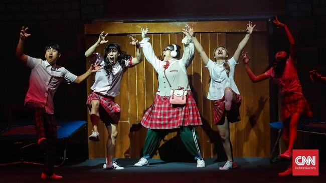 Pentas khas Korea Selatan yang jadi bagian dari rangkaian acara Korea Festival 2019 ini, ditampilkan lewat tiga babak cerita selama 75 menit. (CNNIndonesia/Safir Makki)