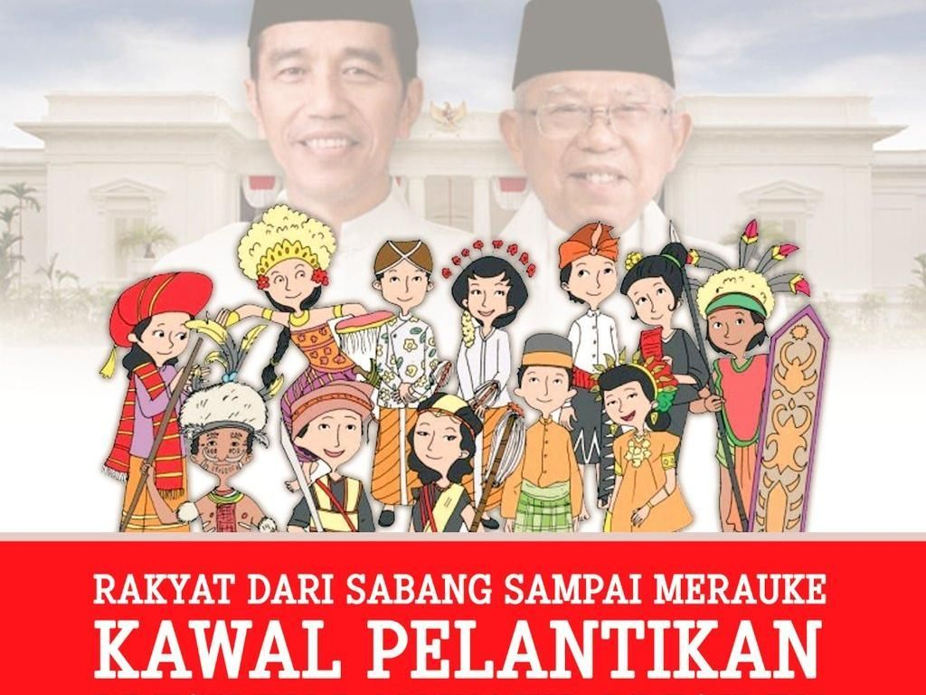 Masih dengan tema Bhinneka Tunggal Ika. Pesannya adalah Jokowi-Maruf didukung semua etnis (Twitter)