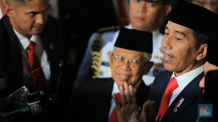 Suasana Ruang Sidang Paripurna saat Pelantikan Presiden dan Wakil Presiden Periode 2019-2024 pada Hari Minggu, 20 Oktober 2019 (CNBC Indonesia/Muhammad Sabki)