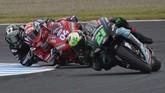 Balapan MotoGP Jepang 2019 terbilang membosankan karena dominasi Marc Marquez. Persaingan lebih menarik justru terjadi pada perebutan posisi ketiga. (AP Photo/Christopher Jue)