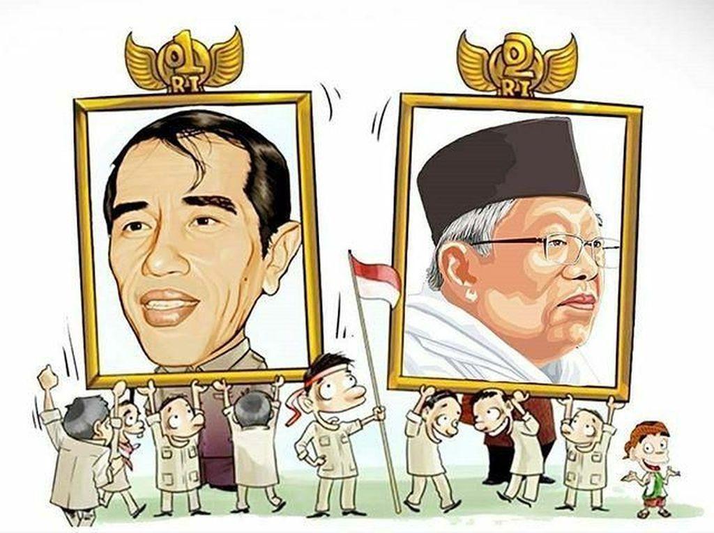 Anak-anak mengusung foto Jokowi-Maruf (Twitter)