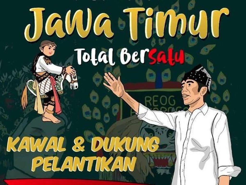 Tema kedaerahan juga ada, misalnya arek Jawa Timur mendukung Jokowi (Twitter)